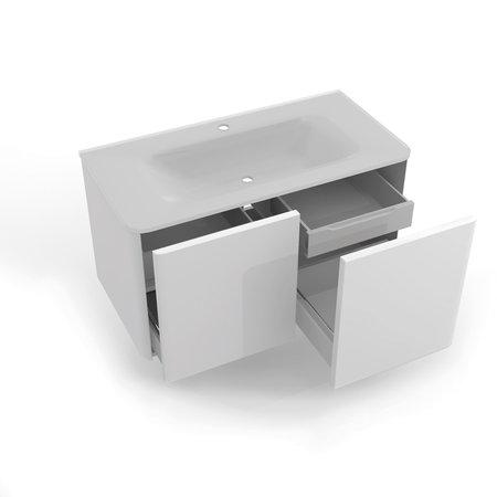 Baressa 950 Wall Hung Vanity Unit c/w Marano Glass Basin - Baressa